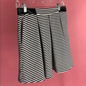 black white striped pleated circle skirt